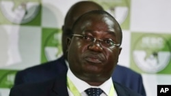 FILE - Christopher Msando, an information technology official for Kenya, speaks at a press conference in Nairobi, July 6, 2017. Msando, an official crucial to running Kenya's presidential election next week, has been found tortured and killed, the electoral commission chairman said Monday, July 31, 2017. (AP Photo)