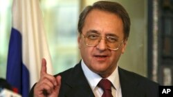 "Russia's Deputy Foreign Minister Mikhail Bogdanov speaks with journalists after his meeting with Lebanese Foreign Minister Gebran Bassil in Beirut, Dec. 5, 2014. Concerning President-elect Donald Trump, Bogdanov told reporters in Russia on Nov. 17, 2016, ""We are already starting contacts with people who are likely to help the new president."""