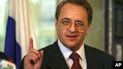 FILE - Russia's deputy Foreign Minister Mikhail Bogdanov, Dec. 5, 2014.
