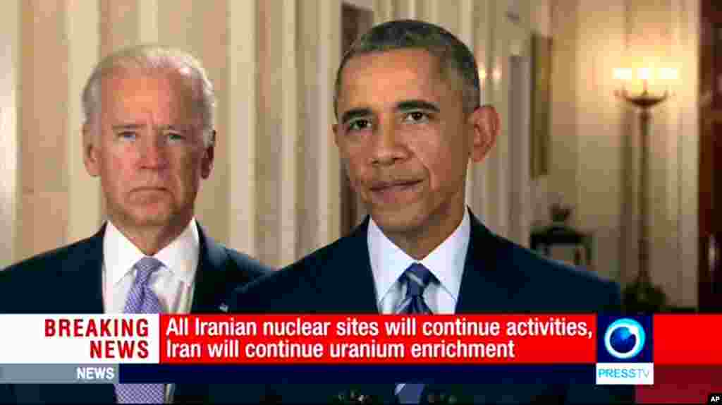 This image made from video broadcast on Press TV, Iran's English language state-run channel, shows U.S. President Barack Obama with Vice President Joe Biden standing by, making a statement following the announcement of the Iran nuclear deal, July, 14, 2015.
