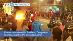 VOA60 Ameerikaa - Nearly 100 consecutive nights of Black Lives Matter demonstrations continued in Portland, Oregon