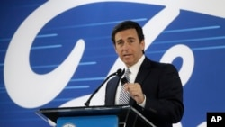 Ford President and CEO Mark Fields addresses the Flat Rock Assembly Tuesday, Jan. 3, 2017, in Flat Rock, Mich.