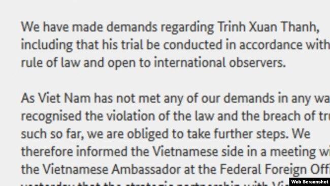 Thông cáo của Đức hôm 22/9 trong đó có nhắc tới từ phiên tòa xử ông ấy [his trial].
