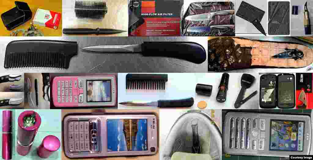 Some of the stranger items found by the TSA are seen. (TSA)