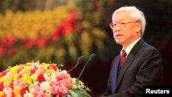 Tổng-Bí thư Nguyễn Phú Trọng phát biểu trong buổi lễ đánh dấu kỷ niệm 85 năm thành lập Đảng Cộng Sản Việt Nam tại Hà Nội, ngày 2/2/2015.