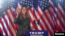 Melania Trump waves during a campaign event in Atglen, Pennsylvania