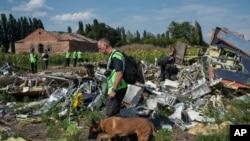 Penyelidik pesawat Malaysia Airlines memeriksa lokasi jatuhnya pesawat MH17 di Donetsk, Ukraina timur.