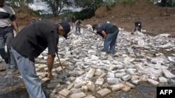 Autoridades de Estados Unidos estiman que hasta un 80% de la droga que llega procedente de los países andinos atraviesa Centroamérica. En la imagen policías y fiscales destruyen cargamento de droga decomisado en Panamá. [Foto archivo]