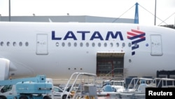 The logo of LATAM Airlines is pictured on an Airbus plane in Colomiers near Toulouse, France, November 6, 2018. REUTERS/Regis Duvignau