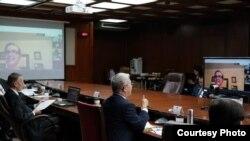 """资料照片:美台于美东时间2020年6月3日晚、台北时间6月4日上午举行""""虚拟太平洋岛屿对话""""加强对太平洋岛国新冠肺炎防疫援助。(台湾外交部照片)"""