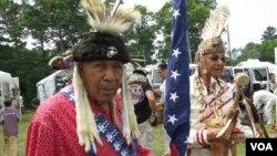 아메리칸 원주민인 북미 인디언들의 powwow 행사장.