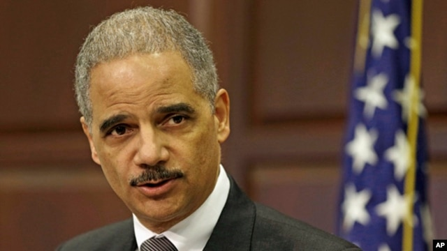 U.S. Attorney General Eric Holder speaks about strategy to mitigate the theft of U.S. trade secrets,  Feb. 20, 2013.