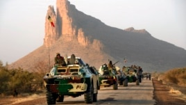A convoy of Malian troops makes a stop to test their weapons near Hambori, northern Mali, on the road to Gao, February 4, 2013.