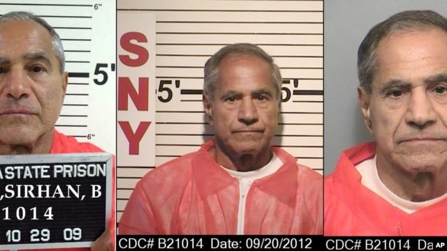 These composite photos provided by the California Department of Corrections and Rehabilitation show Sirhan Sirhan from left, in Oct. 29, 2009, Sept. 20, 2012, and Nov. 22, 2013.  For nearly 50 years, Sirhan has been consistent: He says he doesn't remember fatally shooting Sen. Robert F. Kennedy in a crowded kitchen pantry of the Ambassador Hotel in Los Angeles. The Jerusalem native, now 71, has given no inkling that he will change his story at his 15th parole hearing set for Wednesday, Feb. 10, 2016, in San Diego.