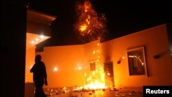 U.S. Consulate in Benghazi in flames during protest by armed group on September 11, 2012.