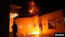 Lãnh sự quán Mỹ ở Benghazi bị một nhóm võ trang tấn công hôm 11 tháng 9, 2012