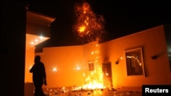 Konsulat AS di Benghazi, Libya diserang oleh para demonstran dan beberapa pria bersenjata, menewaskan 4 diplomat AS, Selasa malam (11/9).
