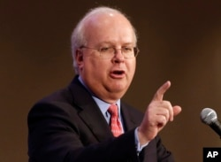 FILE - Republican strategist Karl Rove speaks at a California Republican Party convention event in Sacramento, Calif., March 2, 2013. He contends the party establishment still has time to sideline Donald Trump in the 2016 presidential race.