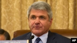 FILE - House Homeland Security Committee Chairman Rep. Michael McCaul, R-Texas, asks a questions on Capitol Hill, April 9, 2014.