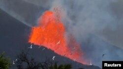 Palomas vuelan al amanecer frente a la lava y el humo, tras la erupción de un volcán en la isla canaria de La Palma, en El Paso, España, el 28 de septiembre de 2021. REUTERS / Jon Nazca