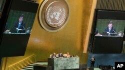 12일 미국 뉴욕 유엔 본부에서 제72차 유엔 총회 개막을 의장국 슬로바키아의 미로슬라브 라이착 외무장관이 선언하고 있다.