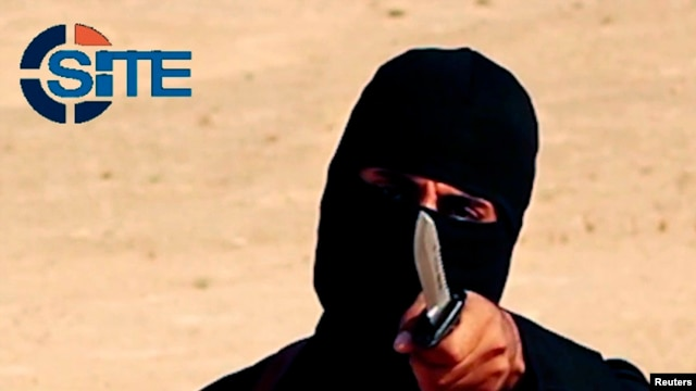 "FILE - ""Jihadi John,"" a militant who has been identified by the Washington Post newspaper as a Briton named Mohammed Emwazi, brandishes a knife in this still image from a 2014 video obtained from SITE Intel Group."