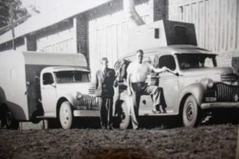 As a young man, Hugh Tracey (far right) had to transport his recording equipment across Africa in a convoy of trucks