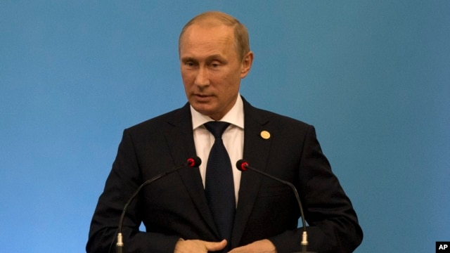 Russia's President Vladimir Putin speaks during the BRICS 2014 summit in Fortaleza, Brazil, July 15, 2014.