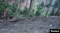 인도 공군 전투기가 파키스탄영토 내를 공습한 후의 모습.