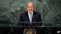 El presidente salvadoreño, Salvador Sánchez Cerén, habló ante la Asamblea General de las Naciones Unidas, el jueves, 22 de septiembre de 2016.