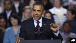 President Barack Obama delivering an address on the American Jobs Act, at Central High School in Manchester, New Hampshire, November 22, 2011.