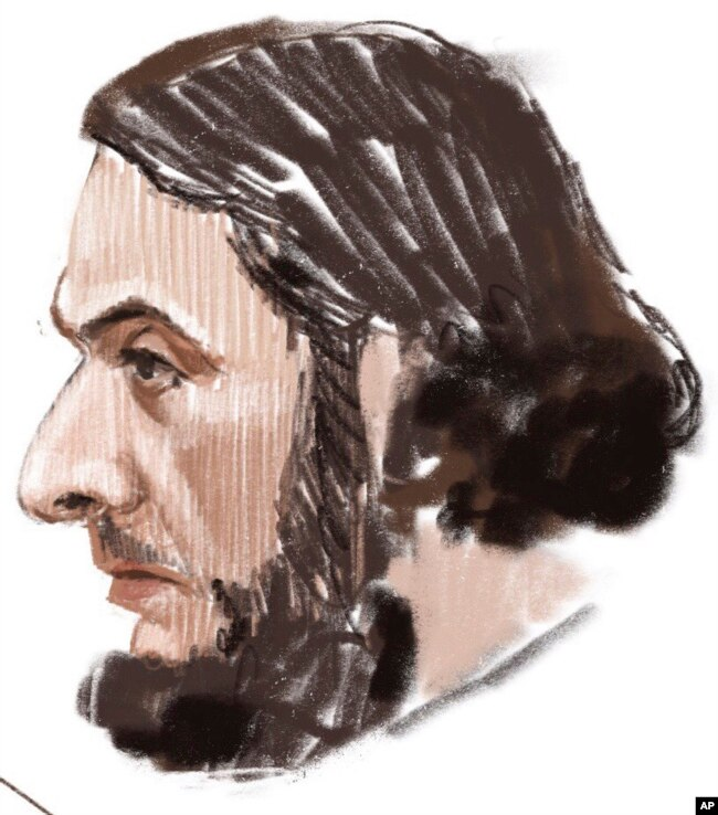In this courtroom sketch, Salah Abdeslam appears at the Brussels Justice Palace in Brussels on Monday, Feb. 5, 2018. Salah Abdeslam and Soufiane Ayari face trial for taking part in a shooting incident in Vorst, Belgium on March 15, 2016.