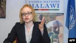 Ikponwosa Ero, experte indépendante des Nations Unies sur l'albinisme, lors de sa visite officielle au Malawi, le 29 avril 2016.
