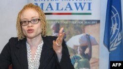 FILE - The U.N.'s independent expert on human rights and albinism, Ikponwosa Ero, addresses a news conference at the end of her official visit to Malawi on April 29, 2016.