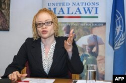 FILE - The U.N.'s independent expert on human rights and albinism, Ikponwosa Ero, addresses a news conference at the end of her official visit to Malawi, April 29, 2016.