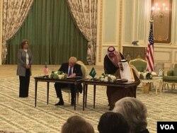 President Donald Trump and Saudi Arabian King Salman bin Abdulaziz sign nearly $110 billion in agreements Saturday to bolster the military capabilities of Saudi Arabia, in Riyadh, Saudi Arabia, May 20, 2017.