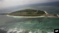 Aerial view of Pagasa Island, part of the disputed Spratly group of islands, in the South China Sea located off the coast of western Philippines, file photo.