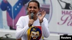 María Corina Machado, líder opositora, encabezó la manifestación hacia la sede de la OEA en Caracas.