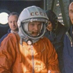 Cosmonaut Yuri Gagarin before launch in April 1961