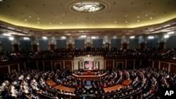 Presiden Donald Trump menyampaikan pidato tahunan di hadapan anggota Kongres Amerika Serikat, 4 Februari 2020.