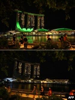 هتل و گردشگاه «مارینا بی سندز» در سنگاپور قبل و بعد از خاموش کردن چراغها به مناسبت «ساعت زمین» (خبرگزاری فرانسه)