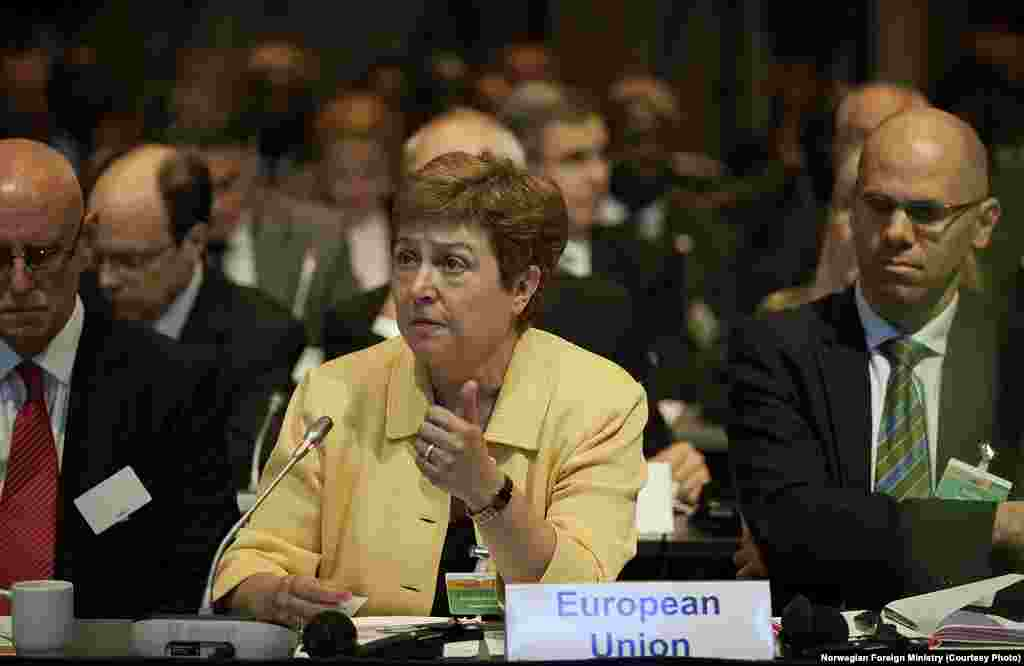 European Commissioner for Humanitarian Aid Kristalina Georgieva speaks at the pledging conference for South Sudan on Tuesday, May 20, 2014.