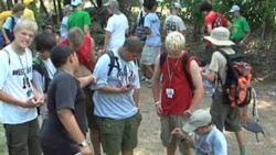 Boy Scouts from 26 countries at a jamboree at Fort A.P. Hill, Virginia