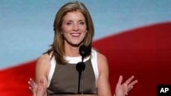 已故美国前总统约翰•肯尼迪的女儿卡罗琳.肯尼迪2012年9月在民主党全国代表大会上发表讲话。
