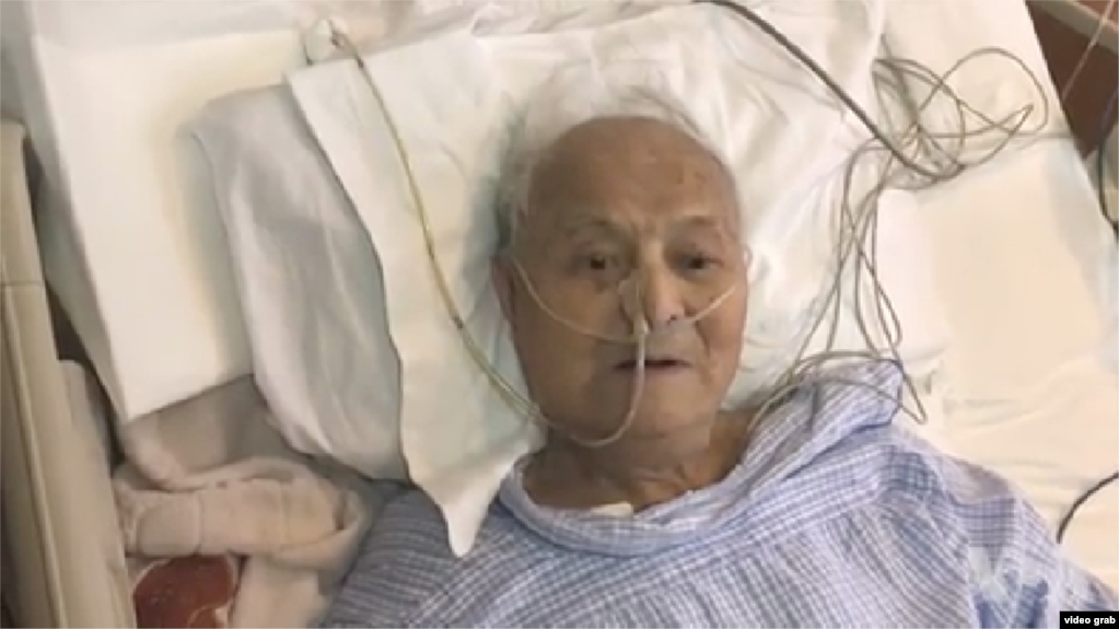 中共黨內自由派代表人物之一、中共黨內自由派代表人物之一、曾任中組部常務副部長的李銳4月13日,他101周歲生日當天,在北京一家醫院病房接受美國之音採訪。(視頻截圖)
