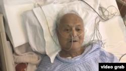 中共黨內自由派代表人物之一、中共黨內自由派代表人物之一、曾任中組部常務副部長的李銳4月13日,他101週歲生日當天,在北京一家醫院病房接受美國之音採訪。(視頻截圖)