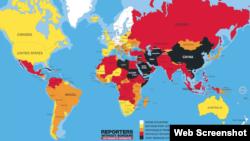 """""""無國界記者""""組織(Reporters Without Borders)4月20日公佈2016年世界新聞自由指數。"""
