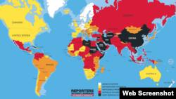 국제 언론감시단체 '국경없는 기자회'가 발표한 2016 세계언론자유 보고서. 색상이 밝을수록 언론자유가 잘 보장된 국가이고, 어두울수록 언론자유 상황이 열악한 국가이다.