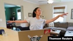 Due to the coronavirus outbreak, University of Utah ballet major Allison Vernon continues her studies online at her home in Arlington, Virginia.