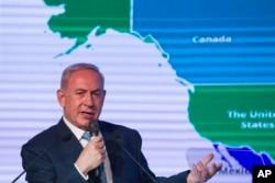 Perdana Menteri Israel Benjamin Netanyahu dalam konferensi diplomatik Jerusalem Post di Yerusalem, Rabu, 6 Desember 2017. Netanyahu menyambut baik keputusan Trump mengakui Yerusalem sebagai ibukota Israel.